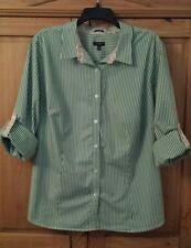 TALBOTS Womens Size 20W 2X Green & White Striped Long Slvs w/Roll Tabs Shirt