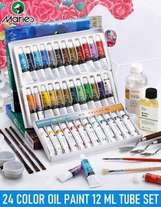 24 Pack Marie's Oil Paint Set 12ml Tubes Artist Painting Set Oil Color Paint Set