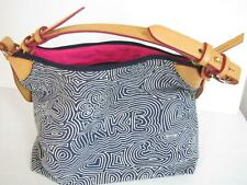 NWOT Dooney Bourke Blue & White Cotton Crescent Bag with Pink Interior