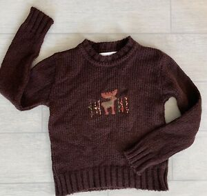 Tartine Et Chocolat Boys Sweater, Size 8, Color Burgundy with Moose Knit