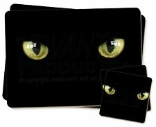 Black Cats Night Eyes Twin 2x Placemats+2x Coasters Set in Gift Box, AC-4PC