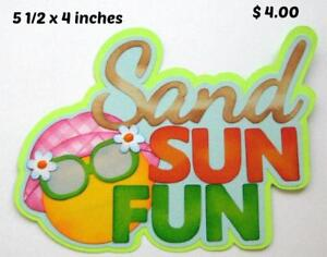 SAND SUN FUN TITLE summer beach scrapbook premade paper piecing by Rhonda