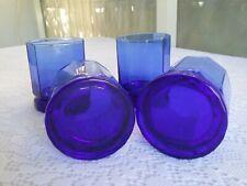 Vintage Anchor Hocking Cobalt Blue Essex Double Old-Fashioned Rocks Glasses, Set