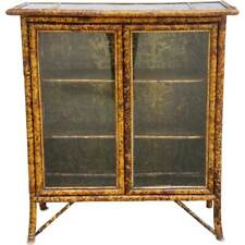 Antique English Aesthetic Movement Pine, Bamboo & Glass Bookcase 19th century