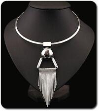 Kabel-Kette Halskette Kette Anhänger Metall Versilbert Statement-Kette