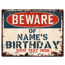 PP4270 Beware of NAME'S BIRTHDAY Tin Chic Sign Home Decor