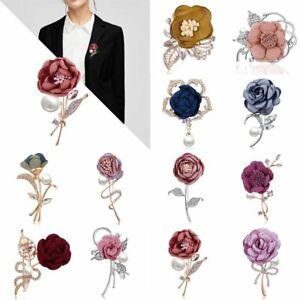 Crystal Pearl Brooch Flower Lapel Cloth Breastpin Pin Banquet Women's Wedding