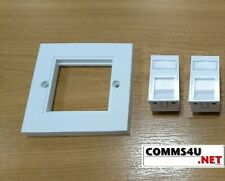 x2 RJ45 Socket Cat5e Cat6 Data Modules in Faceplate for LAN Ethernet Network