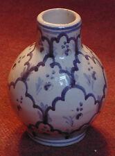 ancien vase boule gourde faience 19eme motif floral et geometrique manganèse