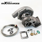 T04E T3/T4 A/R0.63 55 TRIM 5-BOLT 400+HP Boost Turbo Charger Kit + Oil Feed Line