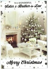 Sister & Brother-In-Law Christmas Card ~ Traditional Christmas Fire Hearth Scene