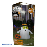 💕 Gemmy Halloween 3.5 ft Witch Ghost with Pumpkin Yard Airblown Inflatable NIB