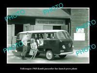 OLD LARGE HISTORIC PHOTO OF 1968 VOLKSWAGEN KOMBI P/BUS LAUNCH PRESS PHOTO