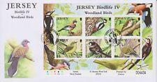 Unaddressed Jersey Cover FDC 2010 Birdlife IV Woodland Birds Sheet 37p-80p