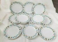 """11 VINTAGE 6701 Dessert or Bread Plates Japan Blue/Green Grape Leaf Pattern 6.5"""""""