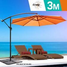 3m Steel Frame Outdoor Umbrella w/Base Garden Patio Market Tan Shade Cantilever