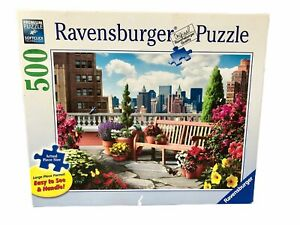 "RAVENSBURGER Jigsaw Puzzle ""ROOFTOP GARDEN""  500 Pcs 27"" x 20"" Complete Flower"