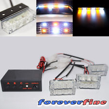 Universal Fit 18 Amber/White LED Emergency Warning Flash Strobe Light Kit K