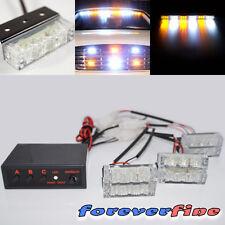 18 LED Tow/Security/Golf Cart Pickup Warning White/Amber Strobe Flash Lights M