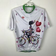 Cycling Jersey Bike Size XXL 2XL Multicolor Floral Woman Hearts Bicycle Full Zip