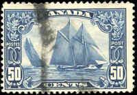 "Stamp Canada Used 1929 50c F Scott #158 ""Bluenose"" King George V Scroll"