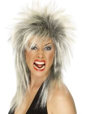 80s Rock Diva Wig Blonde Tina Turner mullet Ladies Fancy Dress Costume Accessory