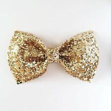 Pale gold Glitter Bow Hair Slide, Christmas Stocking Filler 30 cols available