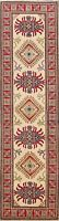 Geometric Ivory Super Kazak Oriental Hall-Way Runner Rug Hand-Knotted Wool 3x10