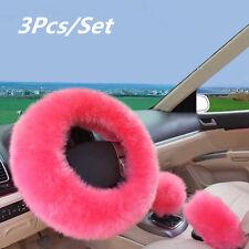 1 Set Car Steering Wheel Cover Long Plush Woolen One Fur Shifter Knob Grip Case