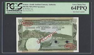Yemen South Arabia  500 Fils ND 1965 P2as Signature1 Specimen TDLR Uncirculated