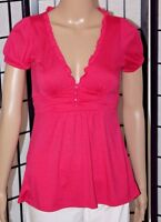FOREVER Women's Small Pink V-Neck Tie-Back Top/Shirt Short Sleeve EUC