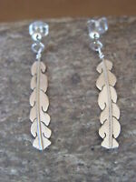 Native American Indian Jewelry Sterling Silver Feather Earrings - Marvin Arviso