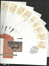 Australia 1989 FRILLED LIZARD FRAMAS Capital City Pmks FU on 9 First Day Covers