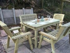 Wooden garden table and chairs bench set patio set solid furniture set (PT 104)