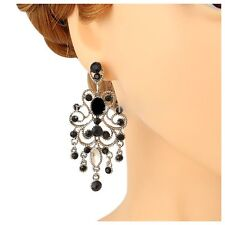 Austrian Crystal Black Chandelier Earrings Wedding Bridal Bridesmaid Party Prom