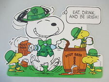 Vintage St Patrick's Day Snoppy Woodstock Eat Drink Be Irish Diecut Decoration