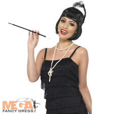 20s Flapper Kit Black Wig Necklace Headpiece Cigarette Holder 1920 Smiffys 33551