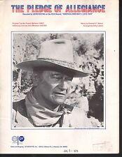 Pledge of Allegiance 1972 John Wayne Sheet Music