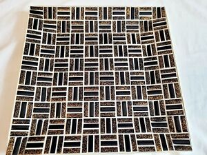 Vintage Mid Century Mosaic Black, Copper Square Dish Tray on Gold Tone Base