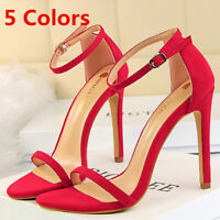 Womens Stiletto Sandals Open Toe Ankle Strap Strappy High Heel Party Dress Shoes