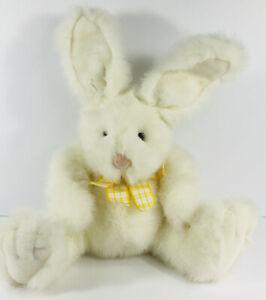 Russ Berrie Stuffed Plush Rikki White Bunny Rabbit Yellow Bow Posable Ears