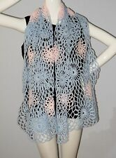 New Handmade Crochet Light Blue Pink Soft Acrylic Galactic  Shawl Wrap Scarf