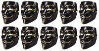10 Stück Set V wie Vendetta Maske | Guy Fawkes Halloween Anonymous Maske Schwarz