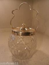 Silver Plate Cut Glass Biscuit Barrel    ref 351