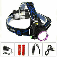 10000Lm XM-L T6 LED Headlamp Camping Head Torch Light Rechargeable 18650 Charger
