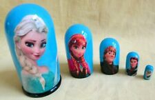 """Frozen Nesting Doll/5-pieces Set/4.5"""" Tall/Decal-Wood/Russia/NEW!"""