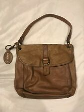 Fossil Long Live Vintage Two Toned Tan/Brown Leather Shoulder Bag Purse ZB2997