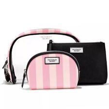 Genuine VICTORIA'S SECRET Make-Up Bag Cosmetic Beauty Case Trio Striped NEW