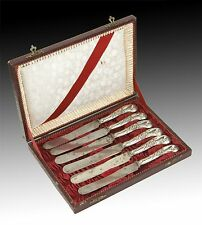 Silver (800) knives set. With hallmarks. / Juego de cuchillos de plata (800).