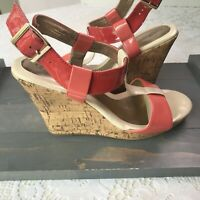 Croft & Barrow Cork Wedges Women's Size 9M Coral Slingback With T Strap Buckle